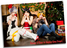 Riven, Ahri and Ezreal: Happy greetings! by Nyandalee