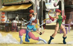 Chun-Li VS Cammy from Street Fighter II Fan art by StyloideIllustration