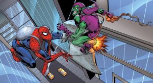 Spidey VS Green Goblin battle by Shugga