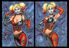 HARLEY QUINN ARKHAM CITY PERSONAL SKETCH CARDS by AHochrein2010