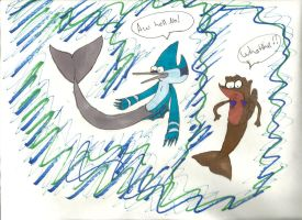 Mordecai and rigby in little mermaid by june565