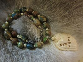 Completed: Green Stone and Bone Necklace 1 by SadiesAccessories