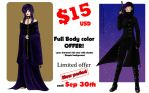 Commissions full body color $15USD - Sep offer!- by Lauralanthalasa