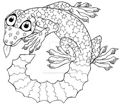 Starry Gecko, Wacky Animals Coloring Book by THExNEKOxCHAN