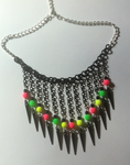 Necklace in neon colors and black by Nanahuatli