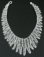 Icicles + Snowflakes Needle Lace Necklace by Wabbit-t3h