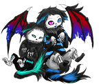 Virus!Sans and Demon!Sans Wolves - Sketch [Gift] by Jeyawue
