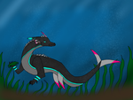 Neon the Carpidile munching on kelp by WingsOfFireCrafter