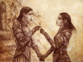 Skyrim, Tymbir and Lydia by Agregor