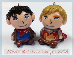 Merlin and Arthur Clay Charms by Comsical