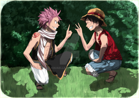 Luffy and Natsu by Aquaelle