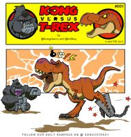 Kong VS T-Rex 001 by BongzBerry