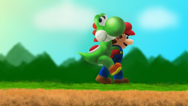 Mario carrying Yoshi by Jelgrohm