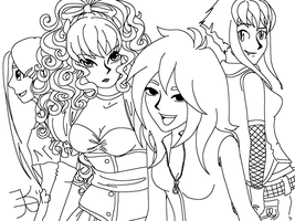 Death n Pals lineart by death-g-reaper