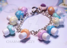 Cute Kitsch pastel mushrooms charm bracelet by CharmsByIzzy