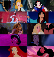 Disney Princesses and their shocked moments by Midnightrosesblood