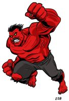 Red Hulk with 'stache by dennisculver