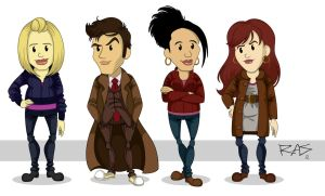 the 10th Doctor and his Companions by rickytherockstar