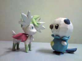 Shaymin VS Oshawott by riolushinx