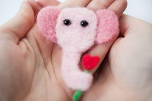 Pink Elephant Has A Flower For You by themaniacalmenagerie