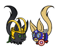 Little Ghost customs Loki and Captain America by Story-Story