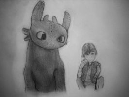 Toothless And Hiccup by Fallenpeach