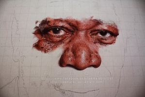 Ballpoint pen Portrait - Morgan Freeman WIP 2 by leemarej