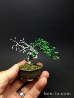 Small green deadwood wire bonsai tree by Ken To by KenToArt