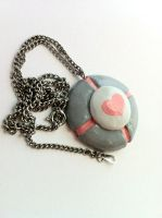 Companion Cube Necklace by LaggyCreations