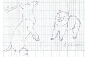 .:sketch:. Bull Terrier and Chow-Chow by licorneor