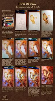 Owl Watercolor Step-by-step by TrollGirl