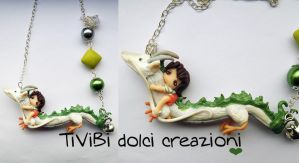 Spirited Away Necklace Chihiro and Kohaku by tivibi