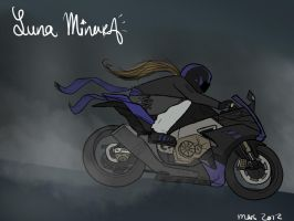 Luna with her motorcycle WIP by Luna-Minura