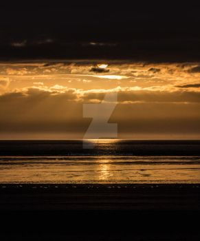 Western Super Mare Sunset in Gold by photographybypixie