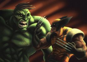 Wolverine vs. the Hulk by charkxl