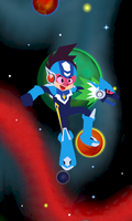 MegaMan in Space by kenshinmeowth