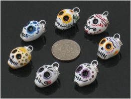 Sugar Skull Charms part 2 by bluedesertrose