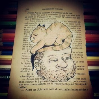 man with beard and cat on head by polpolina