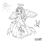 Angel of Peace - Lineart by JadeDragonne