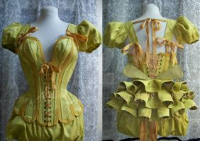 Gold and green corset by AtelierSylpheCorsets