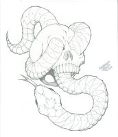 Snake with Skull Tattoo Design for Flash by ICGREEN