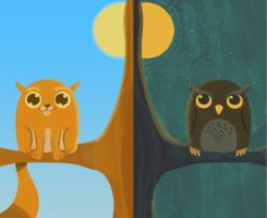 Day Cat and Night Owl by StevenRayBrown