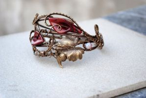 Red Jasper lillies wire wrapped bracelet cuff by IanirasArtifacts