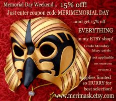 Memorial Day Weekend Sale 2014 by merimask
