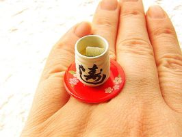 Green Tea Cup Ring RED by souzoucreations
