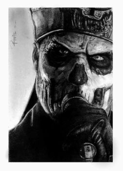 Papa Emeritus II / comission charcoal and pastel by reniervivas666