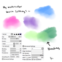 My Watercolor Brush Settings Paint tool Sai by PiplupCRAZYgirl