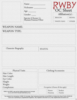 RWBY OC Character Sheet Printable Page 1 by digitalmeister