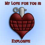Heart Hand Grenade Valentines Card by blackmoonrose13