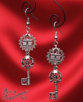 Steampunk Gothic Lock and Skeleton Key Earrings by ArtOfAdornment